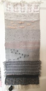 woven wool runner in greys and pinks